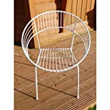 Black Country Metal Works <span class='highlight'>Retro</span> Wrought Iron Bistro Patio Chair - Matching Table Available (White)