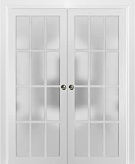 Sliding French Double Pocket Doors 72 x 80 inches Frosted Glass 12 Lites| Felicia 3312 Matte White | Kit Trims Rail Hardware | Solid Wood Interior Bedroom Sturdy Doors