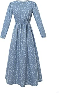 ROLECOS Pioneer Women Costume Floral Prairie Dress Deluxe Colonial Dress Laura Ingalls Costume Blue XXL