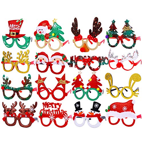 Aodaer 16 Pieces Christmas Party Glasses Frames Holiday Glitter Christmas Costume Eyeglasses Santa Snowman Glasses Christmas Party Gifts for Holiday Favors