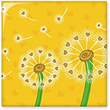 Yellow Flower Dandelion Flowers Glossy Ceramic Tile Bathroom Kitchen Wall Stone Decoration Craft Gift