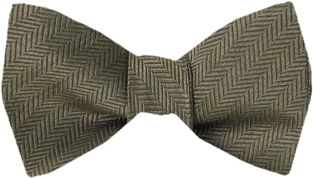 Men's Brown Taupe Ecru Silk Self Tie Bowtie Tie Yourself Bow Ties