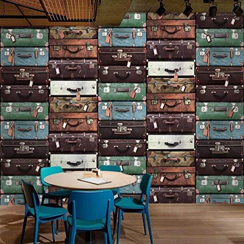 Fotobehang op maat 3D niet-geweven stof Milieuvriendelijk en duurzaam behang muursticker-creatieve koffer muur 450(w)x300(H)cm