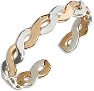 California Toe Rings Women's Sterling Silver 14K Gold Filled Braid Band Adjustable Toe Ring