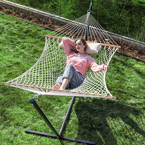 PNAEUT Double Hammock with Stand 2 Person Heavy Duty Traditional 2 People Rope Hammocks and Stand with Pillow for Outdoor Porch Patio Garden Backyard Outside Max 450lb Capacity (Burlywood)