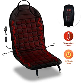 Fireproof New and Improved 2019 Version 2 Pack 12V Heating Warmer Pad Cover Perfect for Cold Weather and Winter Driving Comfort Wheels SE0041-2 Zone Tech Car Heated Seat Cover Cushion Hot Warmer