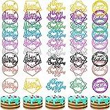 40 Piezas Toppers de Pastel de Happy Birthday Topper de Magdalena de Cumpleaños con Brillos Decoraciones de Palillo de Pastel Colores Variados para Postres Pasteles de Fiestas, 5 Estilos