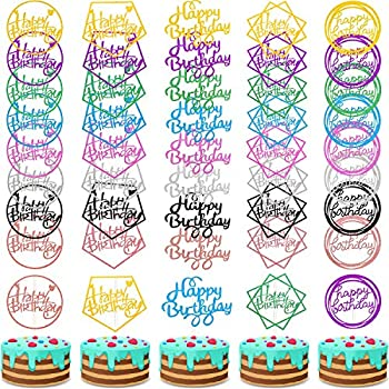 Boao 40 Pieces Happy Birthday Cake Toppers Glitter Birthday Cupcake Topper Assorted Color Cake Pick Decorations for Birthday Party Cake Desserts Pastries 5 Styles
