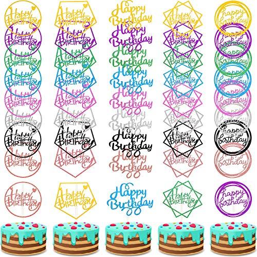 Boao 40 Stücke Happy Birthday Kuchen Topper Glitzer Geburtstag Cupcake Topper Kuchen Zahnstocher Dekorationen für Geburtstagsfeier Kuchen Desserts Gebäck, 5 Stile