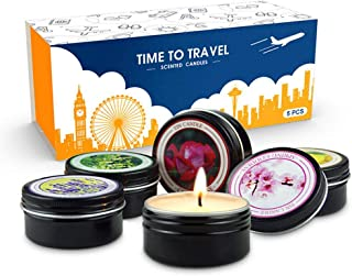 Scented Candles Gift Set, Hamkaw Natural Soy Wax Travel Tin Candles with Lavender, Vanilla Bee, Coral Rose, Lemon Verbena, Spring Fresh for Aromatherapy, Stress Relief, Relaxation, 5-Pack