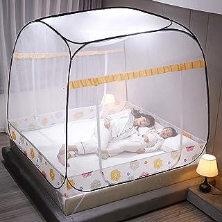 WBHD tipi tält för flickor stort myggnät nät, tält Twin Size nät gardin hängande säng Baldachin nät myggnät nät 3 ingånga...