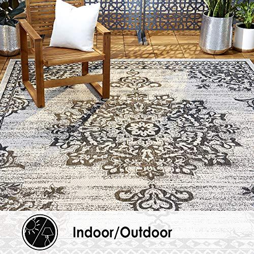 Home Dynamix Nicole Miller Patio Country Azalea Indoor/Outdoor Area Rug 5'2'x7'2', Traditional Medallion Gray/Black
