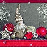 20 tovaglioli a forma di gnomo di Babbo Natale con stelle rosse, 33 x 33 cm