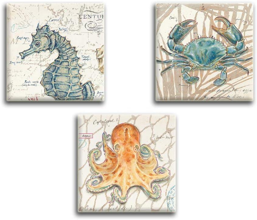 Artsbay Ranking TOP11 3 Panel Ocean favorite Animal Canvas Wall Seahorse Marine Cra Art