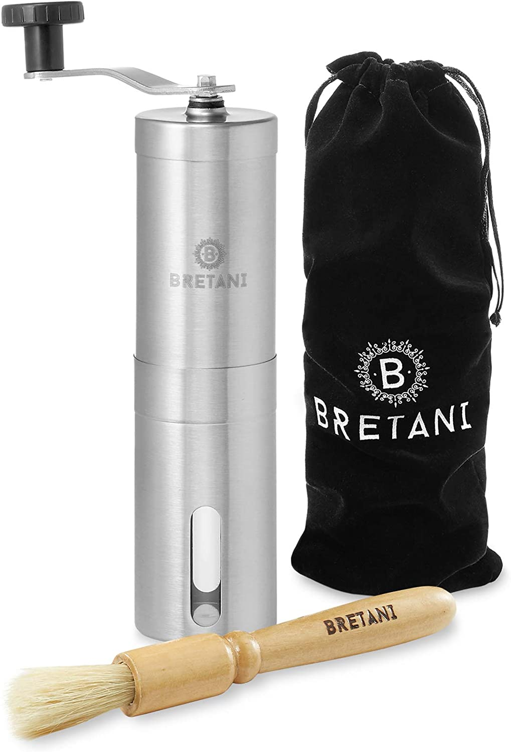 Bretani Manual Coffee Grinder - New mail order Adj with Stainless Steel Indianapolis Mall Brushed