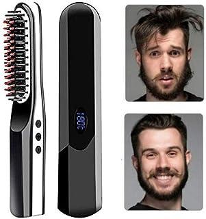 Beard Straightener Brush, Travel Hair Straightening Brush, 2 in 1 USB Rechargeable Multifunctional Hair Comb Curling Straight Iron for Men Women