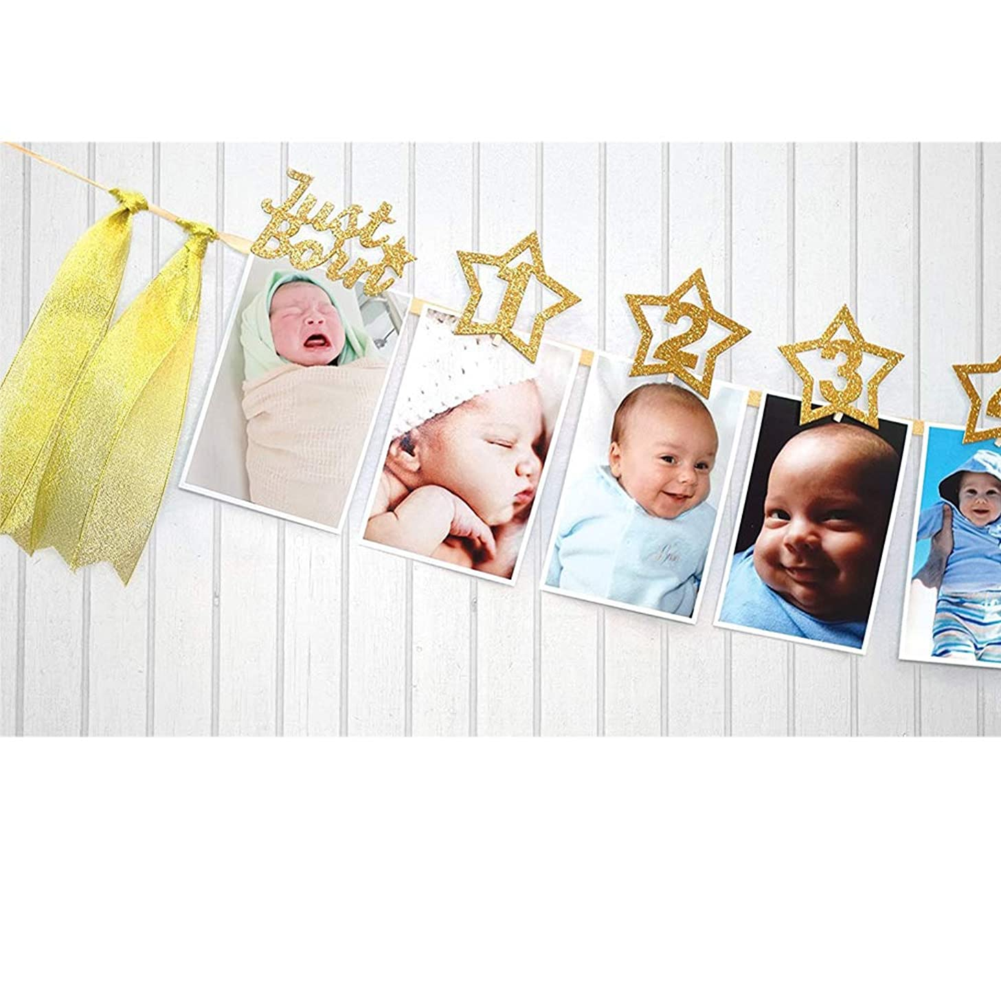 MAGQOO Gold Glitter 1st Birthday Bunting Garland Baby Photo Banner Baby 1-12 Month Photo Prop Party Bunting Decor with Tassels