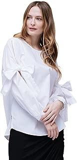 Pleione Linen Bow Tie Long Sleeve Crewneck Shirt Blouse