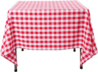 Waysle 70 x 70-Inch Square Tablecloth, 100% Polyester Washable Table Cloth for Square or Round Table, Red and White Checker