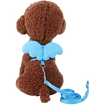 FDSHIP Adjustable Harness Leash Bunny Puppy Traction Rope for Dog (Blue, Small)