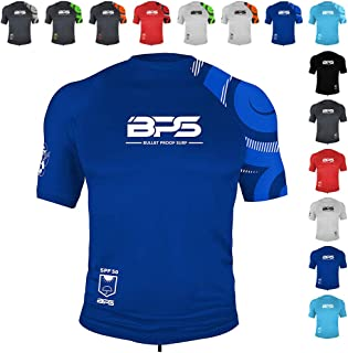 BPS Men's UPF 50+ Short Sleeve Sun and Swim Shirt/Rash Guard - Choose with or Without Sunglasses Strap