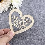 VORCOOL 10 Stück Deko-Herz Anhänger Holz Mr Mrs Hochzeit Dekoration Deko-Hänger mit Schnur - 9