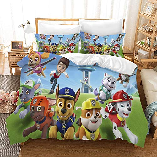 QI Duvet Cover Sets 3D PAW Patrol Printing Cartoon Bedding Set With Zipper Closure 100% Polyester Gift Duvet Cover 3 Pieces Set With 2 Pillowcases F-GB Double79'*79'(200 * 200cm)