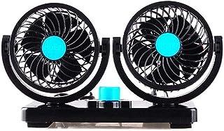 Car Fan Double Head 12V/24V Mute Large Wind Cooling Fan 360 Degree Rotation (Color : Blue)
