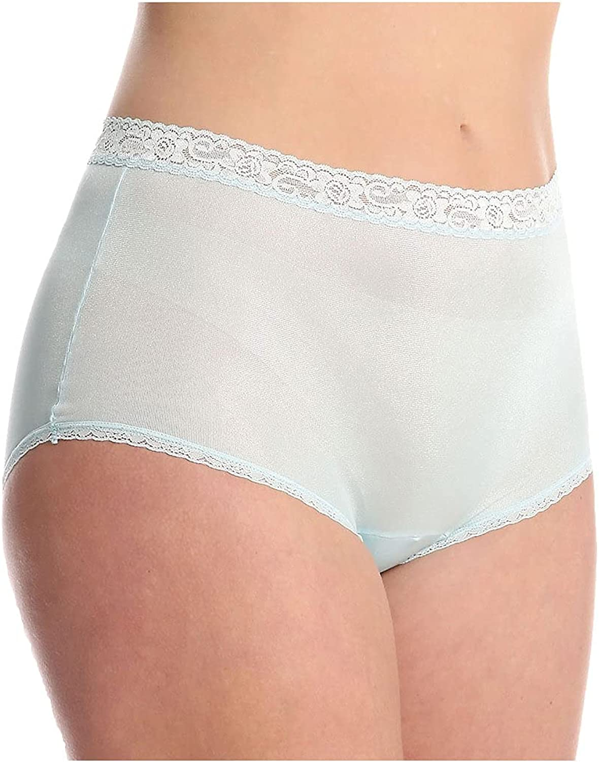 Lorraine Women's Nylon Full New item Brief with Lace Panty Genuine Free Shipping Trim