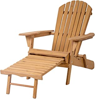 Good Concept Chair Wood Outdoor Foldable Patio Deck Garden Furniture Pull-Out Ottoman W Lawn
