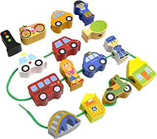 Meshion Primary Lacing Beads,Colourful Wooden City Traffic Set Block Early Learning String Toys Game with 16 Pieces and One Rope for Toddler Kids . Old Or up