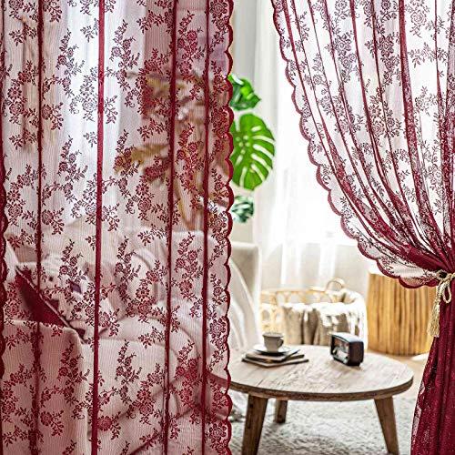 MIULEE 2 Hojas Cortinas Salon Lace Visillos Cortina de Encaje Cortinas Translúcidas Florales de Habitacion Dormitorio Tul con 8 Ollaos Rómanticas para Ventana Balcon Salón 150x225cm Rojo Oscuro