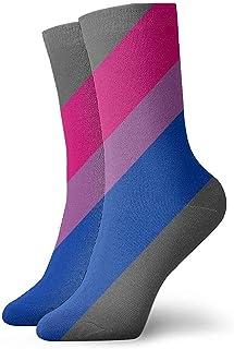 Kevin-Shop, Calcetines Tobilleros con Rayas diagonales Bi Pride Calcetines Casuales y acogedores para Hombres, Mujeres, niños