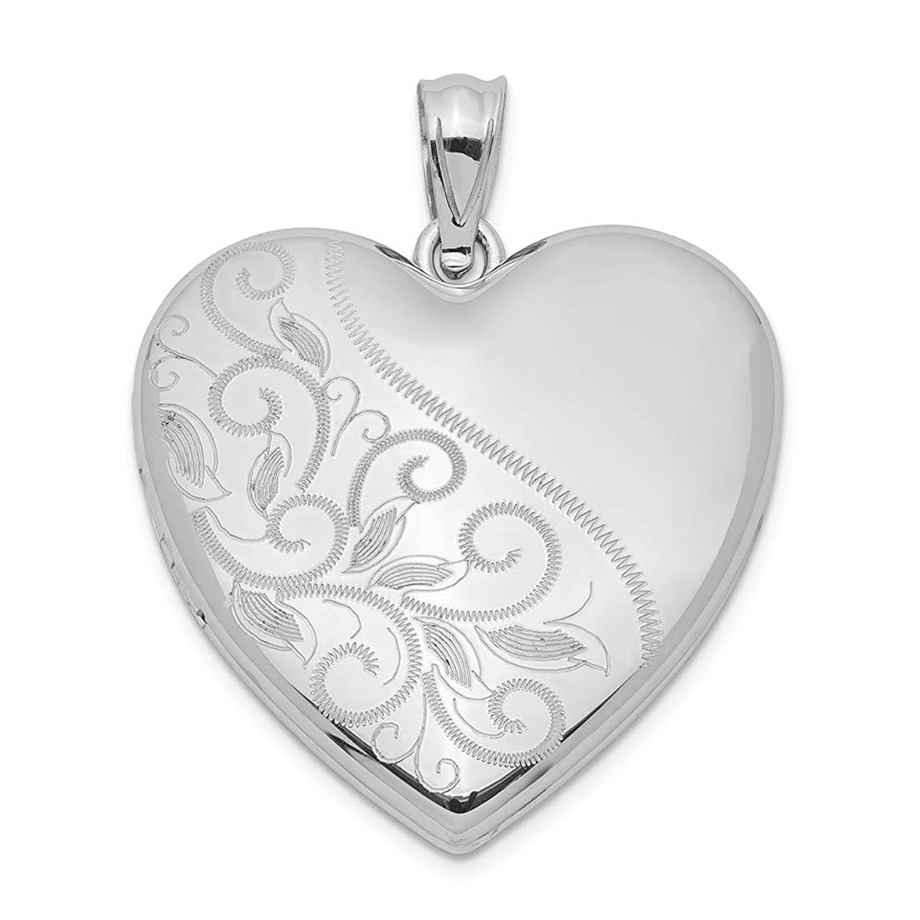 Jewelryweb 925 Sterling Silver Rhodium-plated Holds 4 photos 24mm Scrolled Heart Family Locket Necklace (24mm x 30mm)