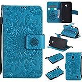 pinlu® PU Leder Tasche Etui Schutzhülle für Nokia Lumia 630 635 Lederhülle Schale Flip Cover Tasche mit Standfunktion Sonnenblume Muster Hülle (Blau)