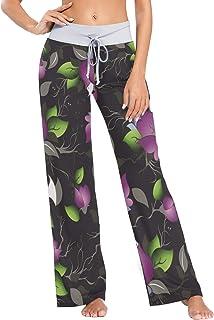 XiangHeFu Pantaloni Pigiama da Donna, Pantaloni da Yoga, Leggings con Fondo, Pantaloni da Salotto a Vita Alta, Motivo Flor...