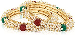 Indian Bollywood Traditional Ethnic Gold Plated Pearl Studded Bracelets Bangle Set Wedding Jewelry for Women