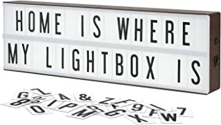 My Cinema Lightbox The Vintage Edition LED Marquee Light Box, Includes 140 Letters, Numbers, and Symbols to Make Your Own Sign, Extra Long 2 Row Length Fits 14 Across, Faux Wood Finish, Wall Mountable