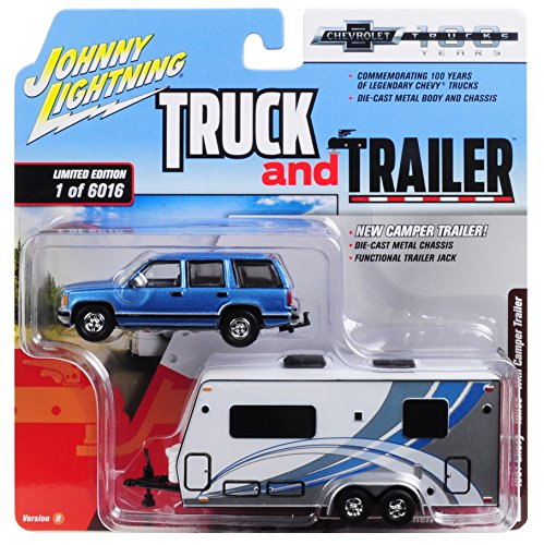 Johnny Lightning 1:64 Truck and Trailer - Chevrolet Tahoe with Camper Die Cast Vehicle, Blue/White