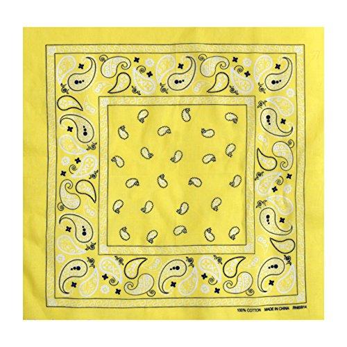 L&M 12Pcs Bandanas 100% Cotton Paisley Print Head Wrap Scarf Wristband (Yellow)