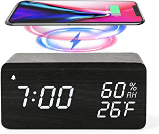 Wooden Digital Alarm Clock with Wireless Charging, 3 Alarms LED Display, Sound Control and Snooze Dual for Bedroom, Bedside, Office (Black)
