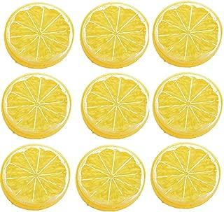 IETONE 30 Pieces Artificial Plastic Simulation Fake Lemon Slices Lifelike Decorative Fake Fruit-Yellow