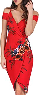 Formal Dresses for Women Floral Printing V Neck Off Shoulder Sleeveless Evening Party Dress
