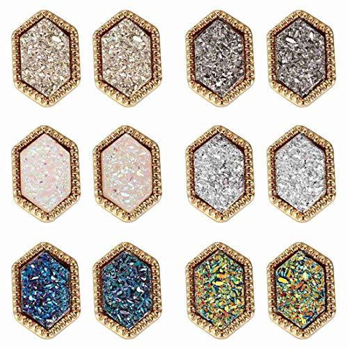Lullabb 6 Pairs Women Crystal Druse Rhomb Stud Earrings Hypoallergenic Geometry Shiny Druzy Ear-ring Men boys Fashion Jewelry for girls