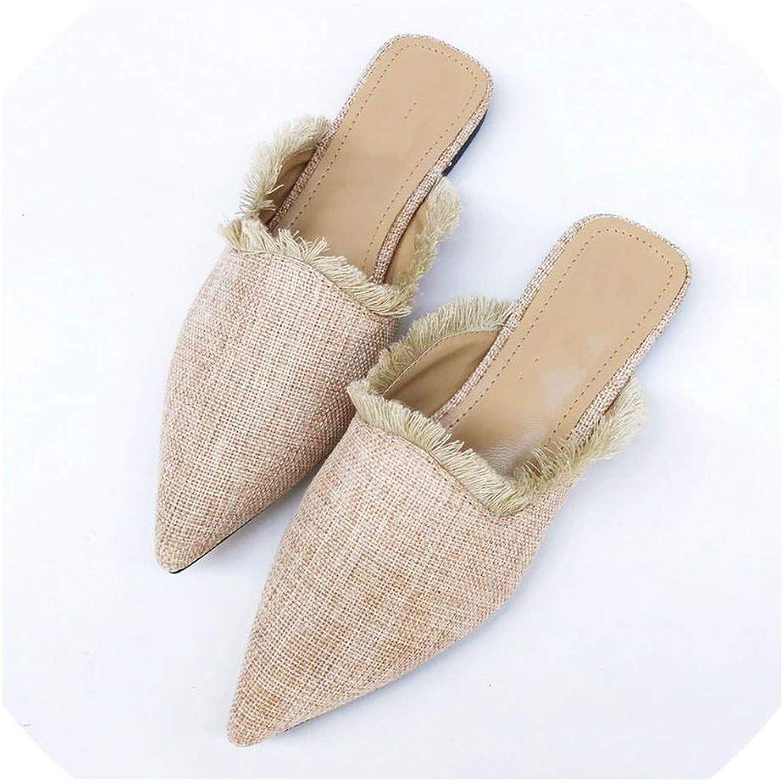 New Spring Summer Women Slippers Hemp Weave Pointed Toe Flat Tassel shoes Women Flip Flop