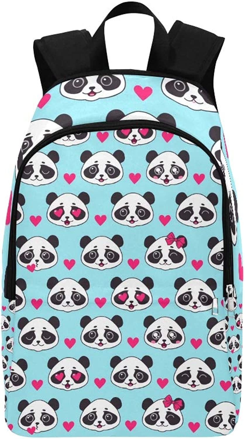 Cute Panda Pandas Face Casual Daypack Travel Bag College School Backpack for Mens and Women