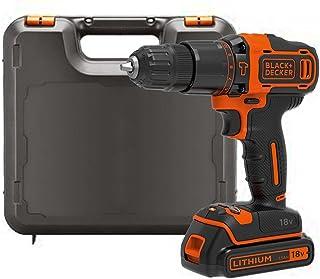 BLACK+DECKER BDCHD18K-QW BDCHD18K-QW-Taladro Percutor 18V con 1 batería 1,5Ah y maletín, 18 W, 18 V, Black, Orange, No