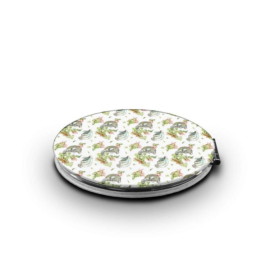 低い女の子シャーク携帯ミラー 海牛ミニ化粧鏡 化粧鏡 3倍拡大鏡+等倍鏡 両面化粧鏡 楕円形 携帯型 折り畳み式 コンパクト鏡 外出に 持ち運び便利 超軽量 おしゃれ 9.0X6.6CM
