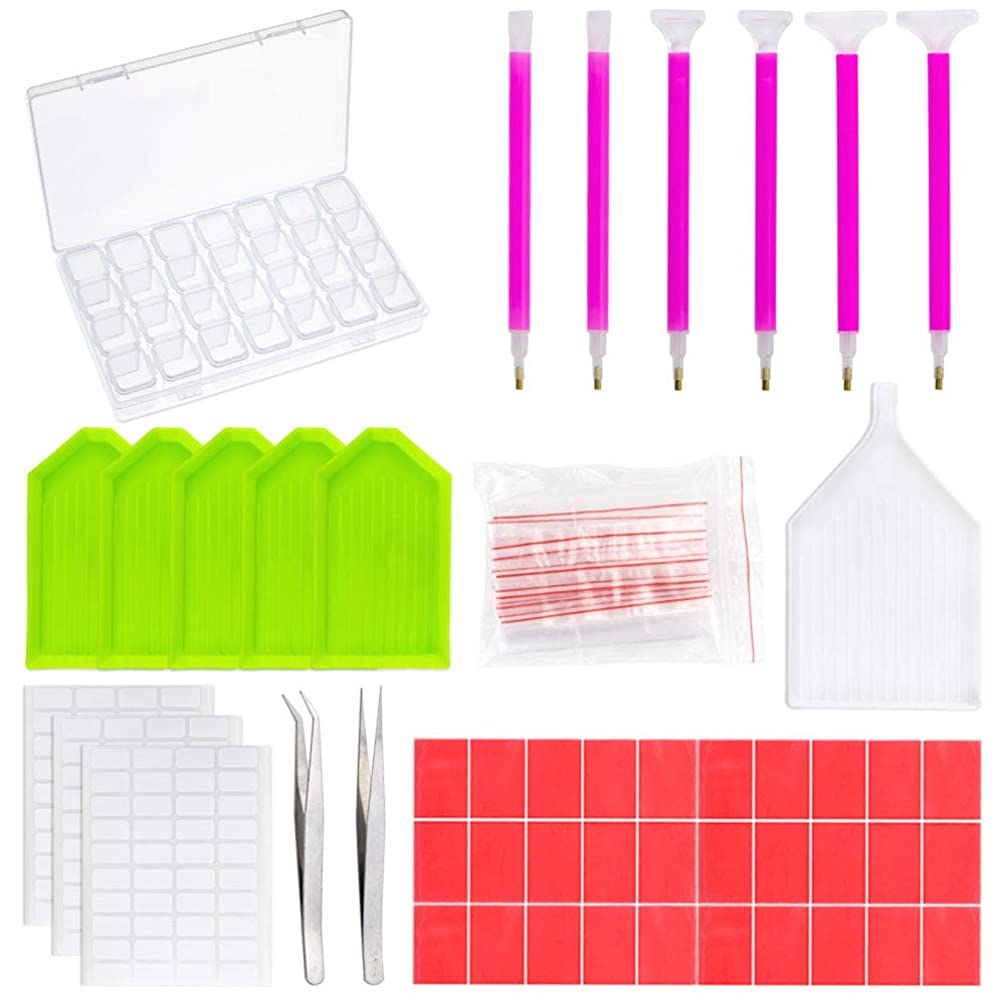 Outuxed 78Pcs Diamond Painting Tools 5D DIY Diamond Painting Accessories Cross Stitch Tool Set with 28 Slots Diamond Embroidery Box and Stickers for Art Crafts
