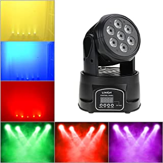 Lixada Moving Head Light 7x10W Moving Head 4 In 1 RGBW Professional 9/14 Channels DMX-512 DJ lights 100W AC 100-240V Sound Active for KTV Club Bar Party Disco DJ Show Bands